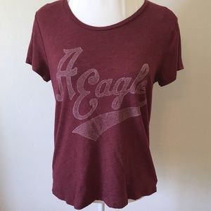 American Eagle Outfitters Tops - Large A EAGLE Burgundy Favorite T Graphic Shirt